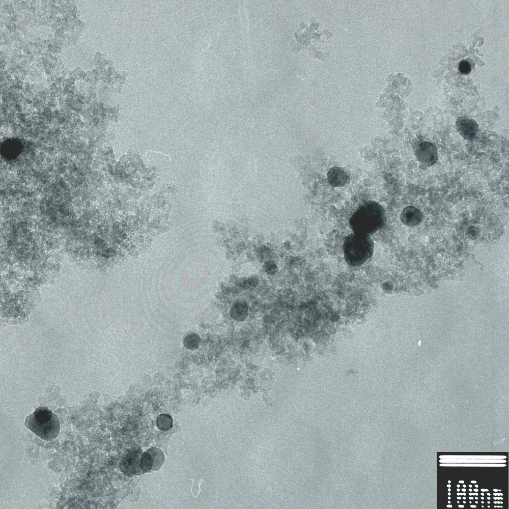 Transmission Electron Micrograph of Iron-Doped Carbon Aerogel