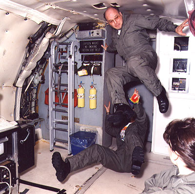 Dr. Arlon Hunt on NASA's KC-135A researching the effects of gravity on silica gel formation (image courtesy of Dr. Mike Ayers).