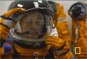 Sen. John Glenn getting ready to go to space in 1998 (image credit NASA).