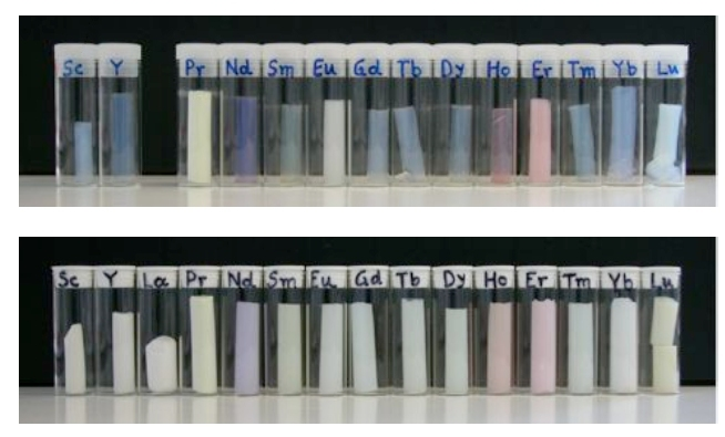 Virtually any metal oxide aerogel that can be made can be made in a mechanically strong x-aerogel form, including the colorful lanthanide oxides (image courtesy Prof. Nicholas Leventis)